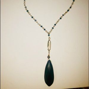 groovy's Jewelry - Trendy long necklace-Black & gray stones in gold